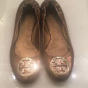 Tory Burch Metallic Reva Flats Slip-On shoes 9